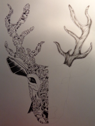 veado deer draw ink ines art works