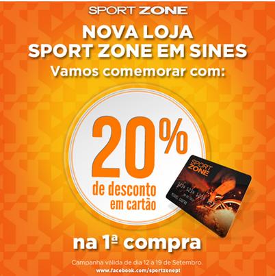 Desconto de 20% na Primeira Compra Sport Zone