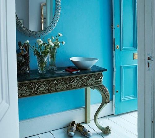 decoracao de interiores paredes pintadas:Paredes azuis em interiores e exteriores – Decoração e Ideias
