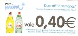Vale 0,40€ na compra de qualquer fairy