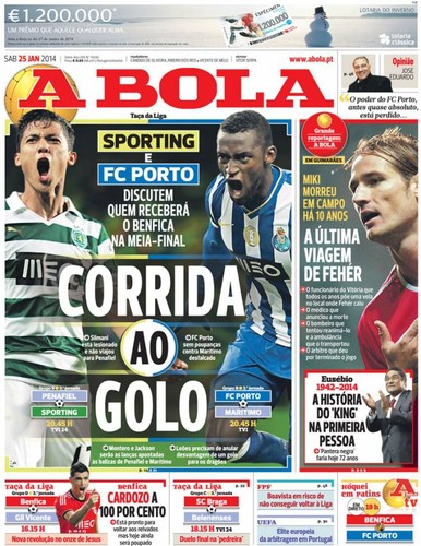 Jornal A Bola - Notícias - Capas - Destaques - Diários - 25 de Janeiro - Capas  de Imprensa - Jornais e Revistas 3b0ecec178cfc