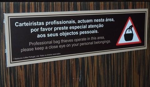 Aviso carteiristas profissionais