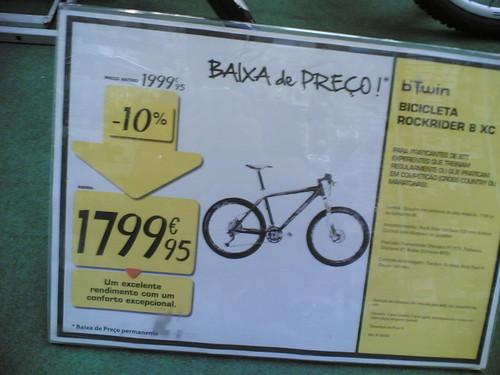 Bicicleta Rockrider 8 XC custa 1800€ (custava 2k
