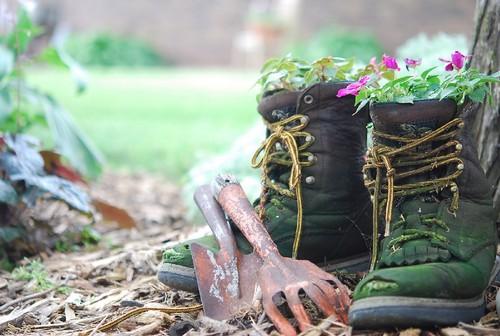 ideias de mini jardim:Galocha de borracha – Faça um mini jardim – Decoração e Ideias