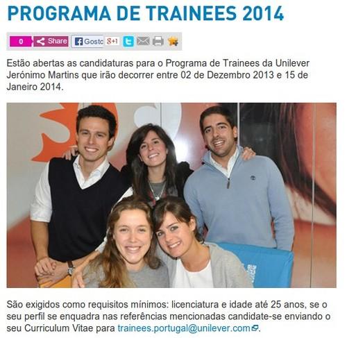 Programa de Trainees   UNILEVER   2014