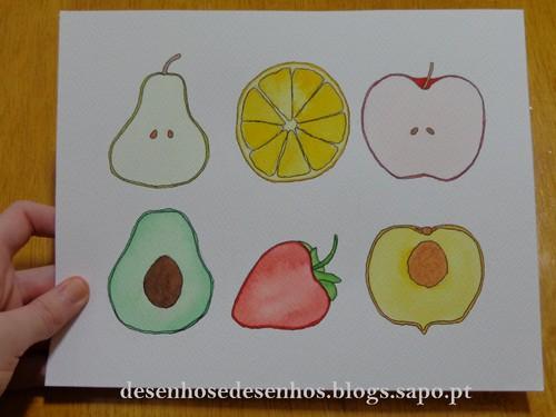 frutas a aguarela