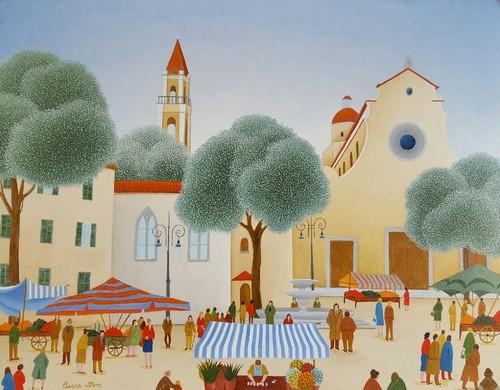 Il mercato in Piazza Santo Spirito a Firenze 35x45