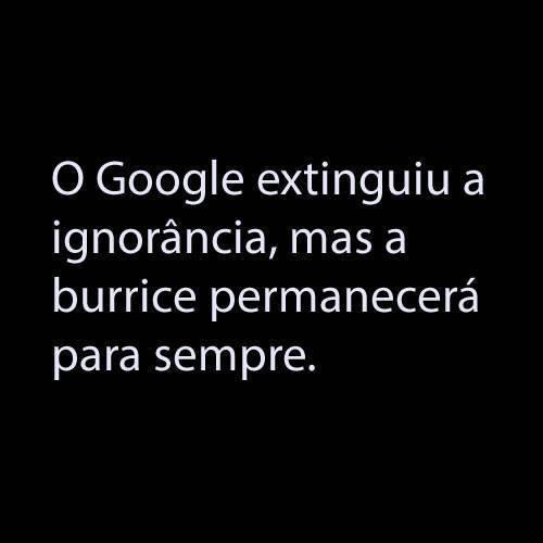 O Google extinguiu a ignorância, mas a burrice permanecerá para sempre