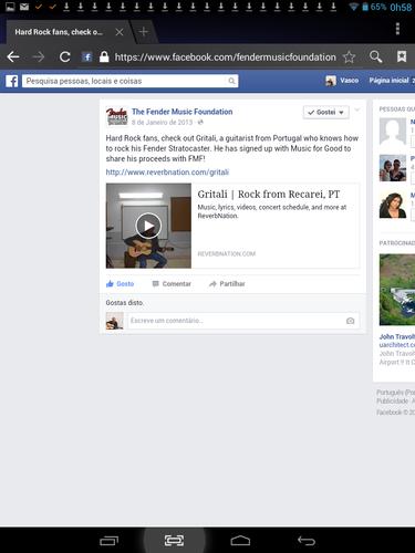 Vasco Moreira Gritali no Facebook da Fender Music