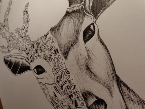 veado deer ink draw inês art works
