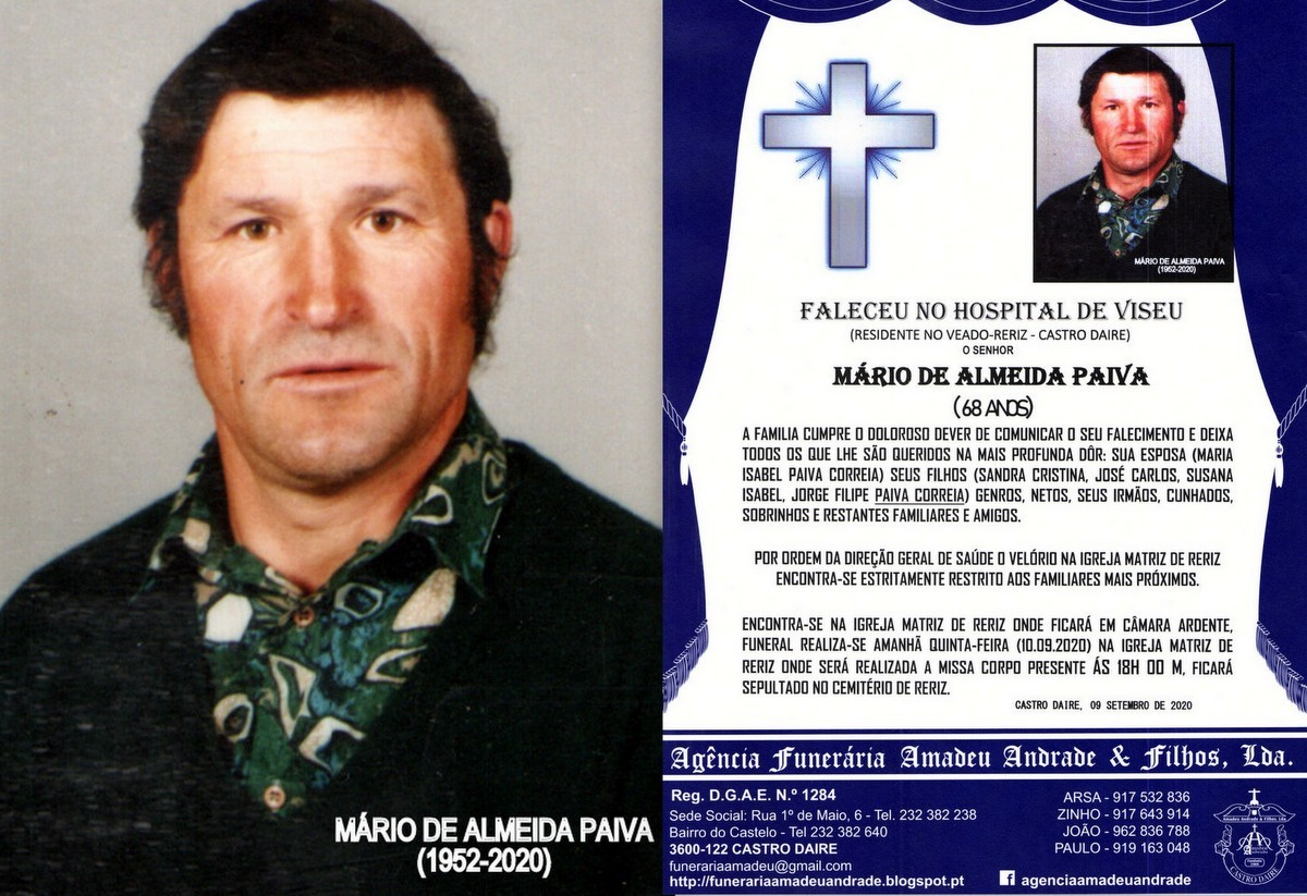 FOTO RIP DE MÁRIO DE ALMEIDA PAIVA-68 ANOS (RERIZ