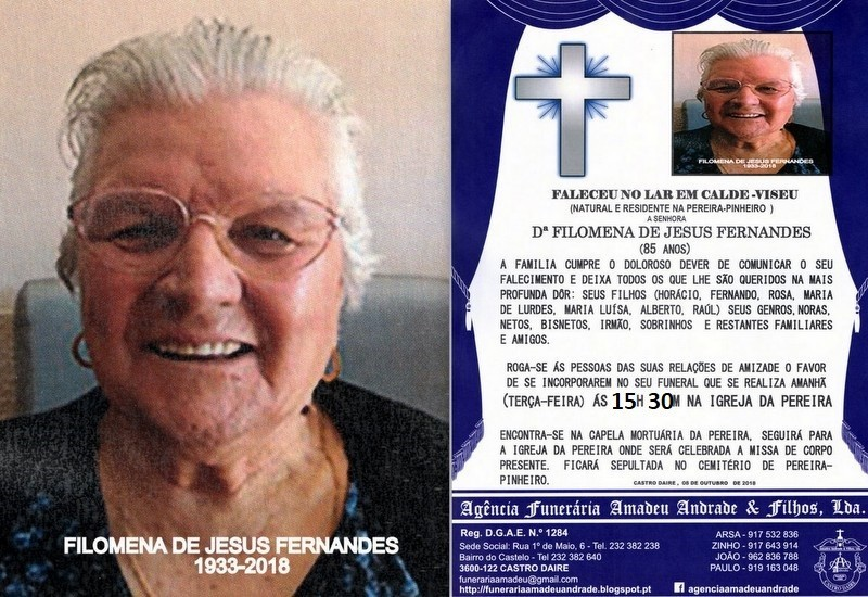 FOTO RIP  DE FILOMENDA DE JESUS FERNANDES-85 ANOS