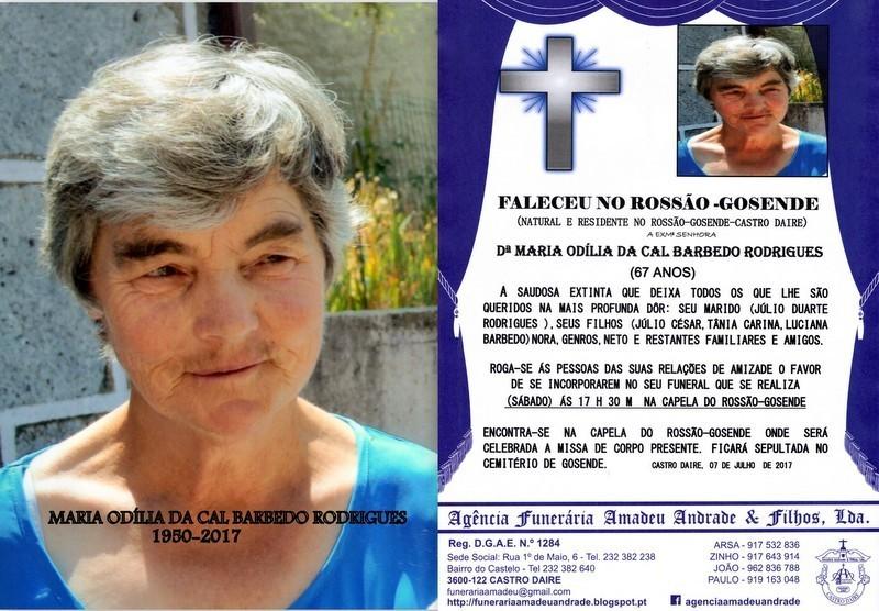 RIP E FOTO - MARIA ODÍLIA DA CAL BARBEDO RODRIGUE