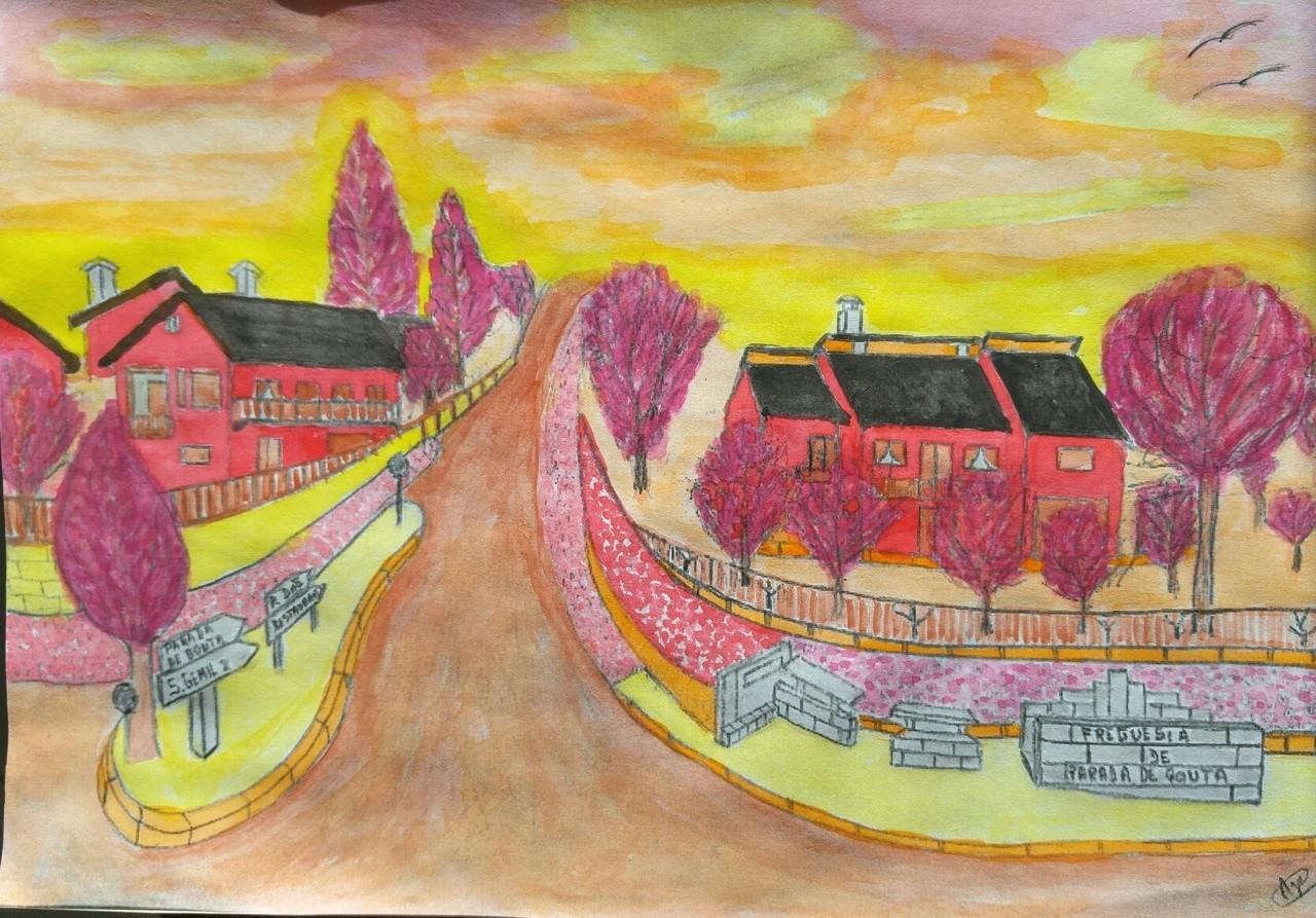 Parada de Gonta - Pintura em aguarela a cores quen