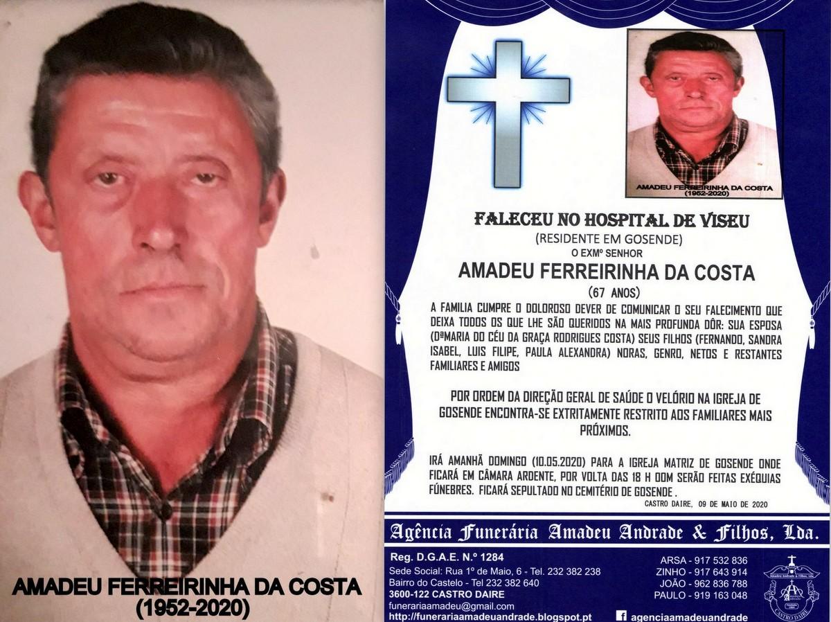 FOTO RIP DE AMADEU FERREIRINHA DA COSTA -67 ANOS (