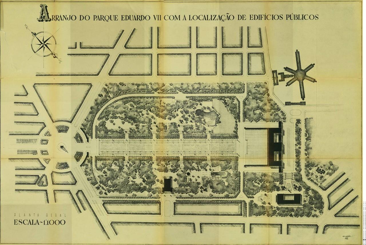 Arranjo do Parque Eduardo VII com a localização