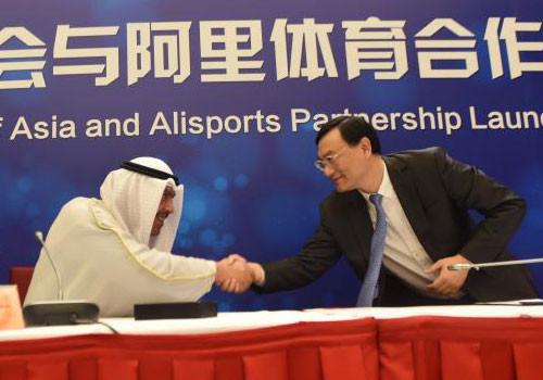 Foto do anúncio da parceria entre Conselho Olímpico da Ásia e Alisports