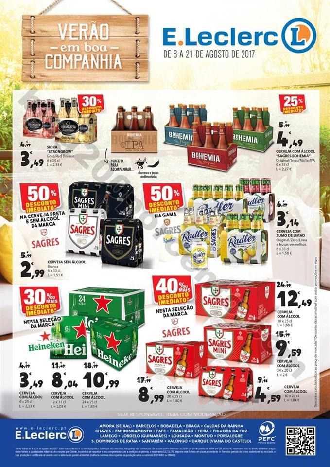 Antevisão Folheto E-LECLERC Extra Cervejas de 8 a