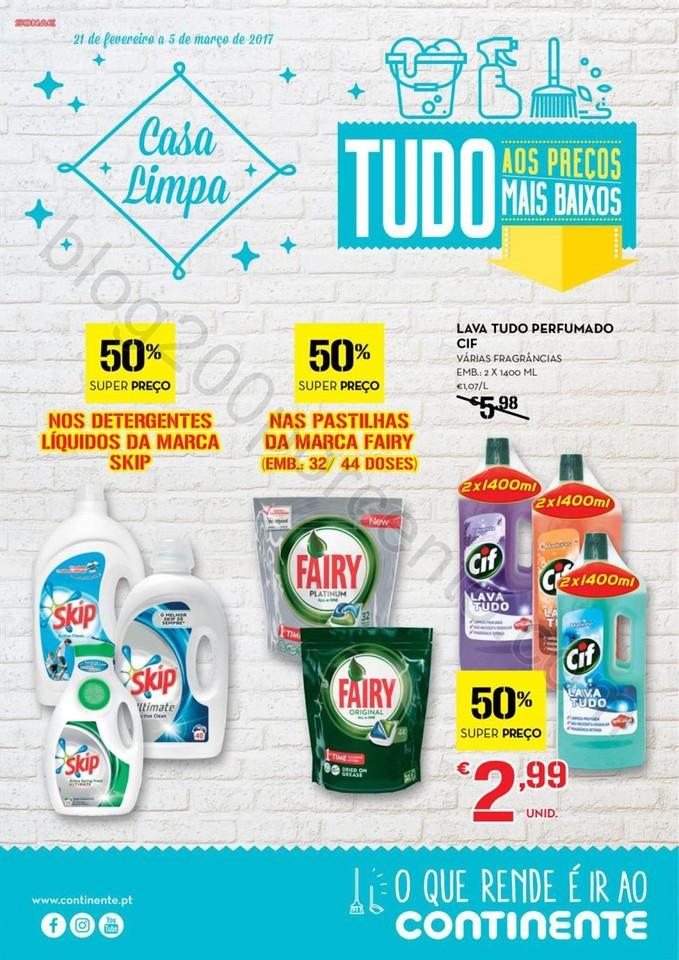 Antevisão Folheto CONTINENTE Limpeza promoções