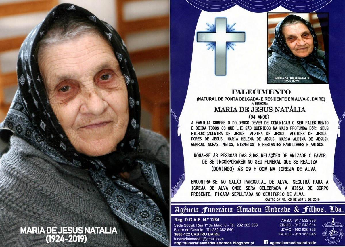 FOTO RIP  DE MARIA DE JESUS NATALIA-94 ANOS (ALVA)