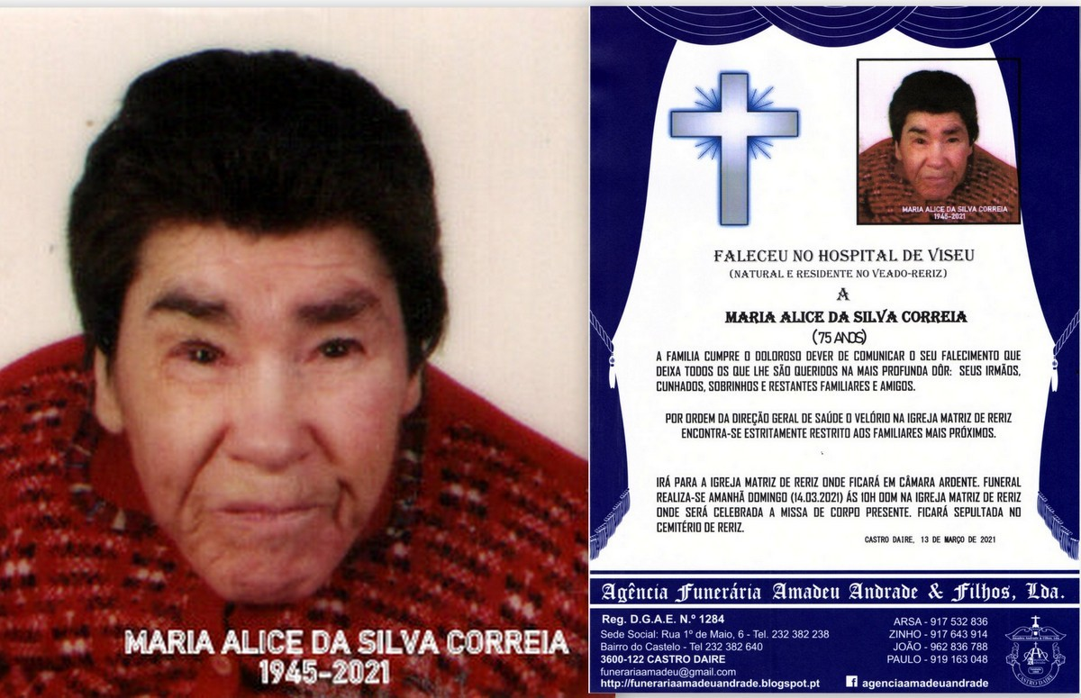 FOTO RIP DE MARIA ALICE DA SILVA CORREIA-75 ANOS (