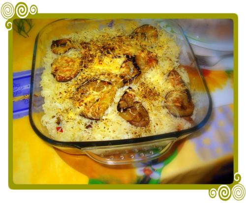 arroz beringelas no forno