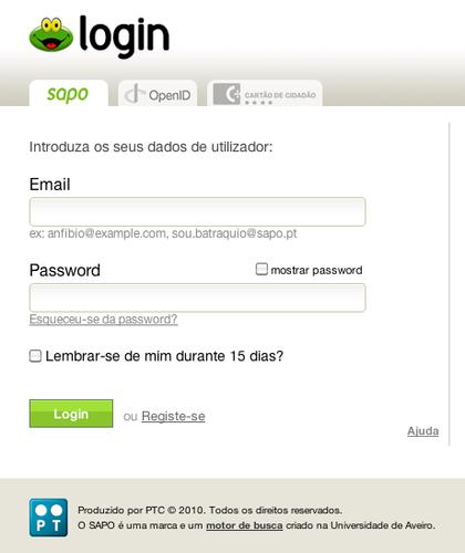 Formulário de Login usado nos testes