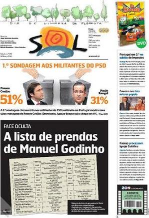 """A capa de hoje do semanário """"SOL""""..."""