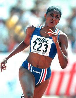Marie-José Perec, a ex-campeão dos 400 metros, dominadora da volta à pista durante vários anos...