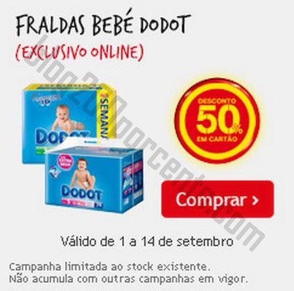 50% de desconto CONTINENTE de 1 a 14 setembro - Fraldas Dodot