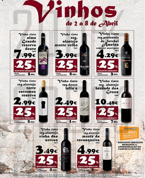 Especial vinhos   E-LECLERC   Montijo, de 2 a 8 abril