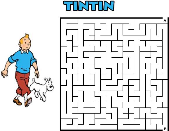 tintin jogo labirinto jogos para imprimir infantil brinquedos de