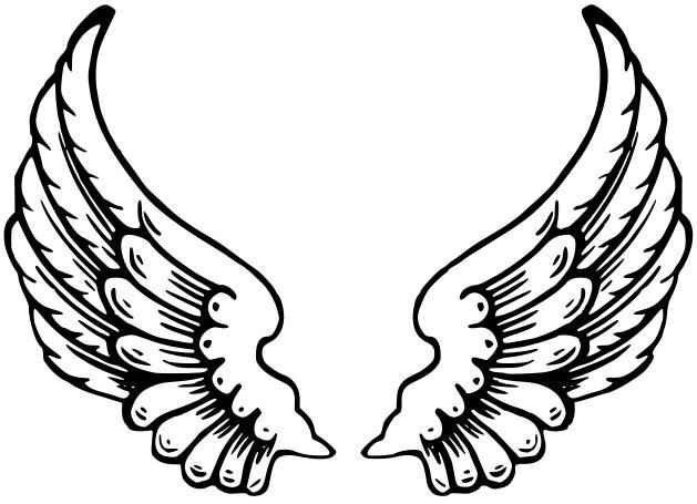 Moldes de Asas de Anjo - Desenhos para Colorir ou Recortar de Natal